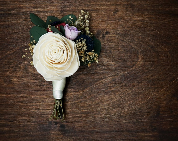 Natural groom wedding boutonniere ivory sola rose blue thistle preserved eucalyptus dusty pink lavender gypsophila vintage style elegant