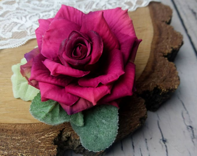 Wedding boutonniere burgundy pink realistic silk flowers dusty miller flocked leafs greenery marsala wine rose groom groomsman set