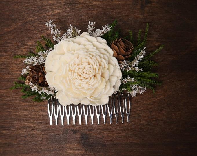 Woodland wedding sola flower hair comb