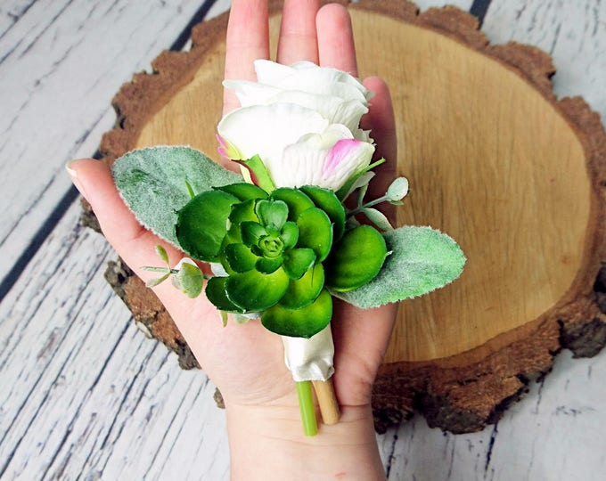 Wedding boutonniere succulent realistic silk flowers single rose dusty miller flocked leafs greenery ivory simple elegant green natural