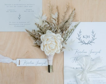 Wooden sola flower boutonniere, boho chic pampas grass wedding, neutrals dried Groom's flowers, glamour rustic boutonniere