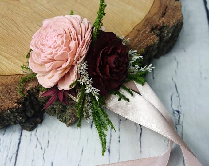 Blush pink burgundy green rustic wedding WRIST CORSAGE bridesmaids mother Sola Flower greenery cypress burlap woodland cedar rose maroon