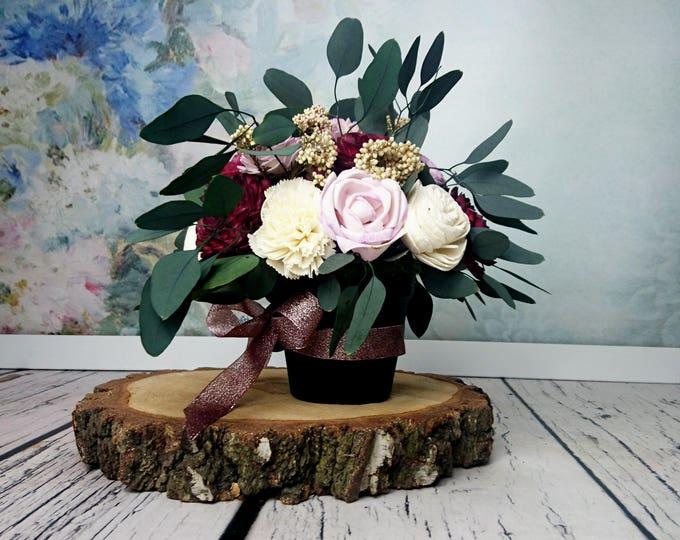 Wedding floral arrangement table centerpiece sola flowers stabilized eucalyptus rice flower fall burgundy lilac lavender ivory natural
