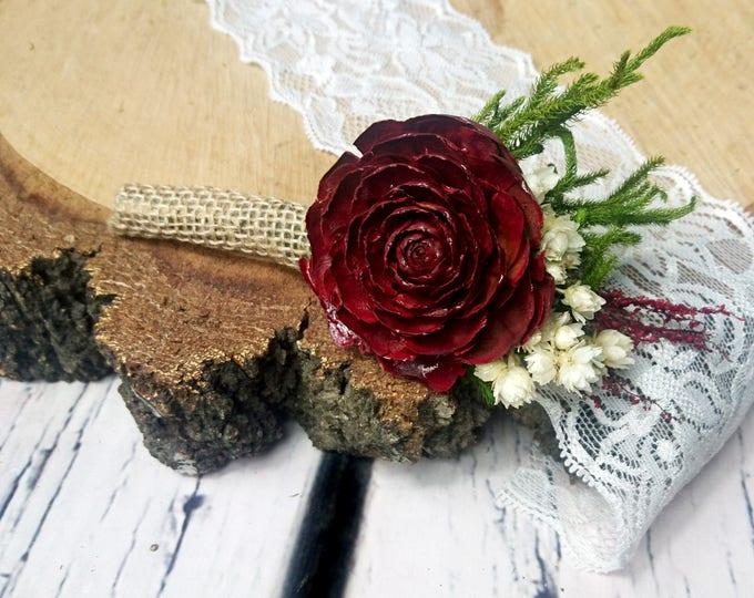 Wine deep red burgundy rustic wedding BOUTONNIERE cedar rose groom groomsman dried flowers greenery burlap elegant classic one flower