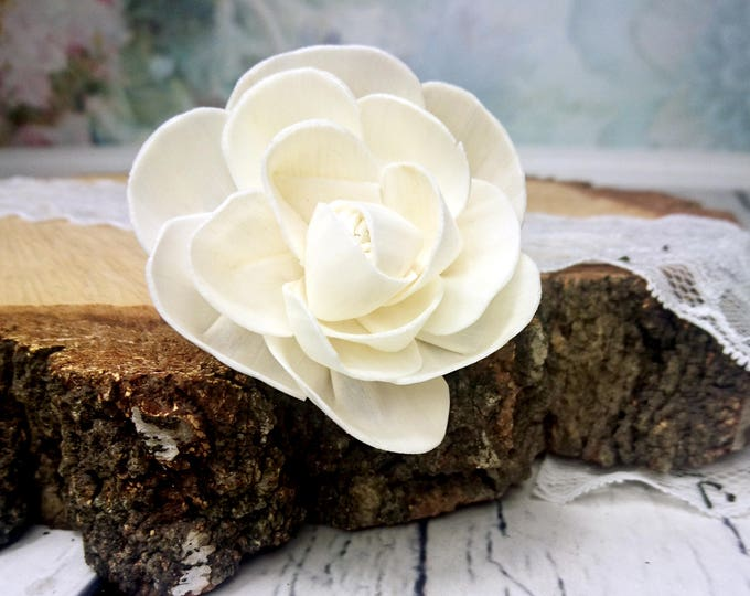Wedding decor diy organic floral bouquet supply Sola Flowers wooden white ivory natural rustic 6cm table party decor florist best quality