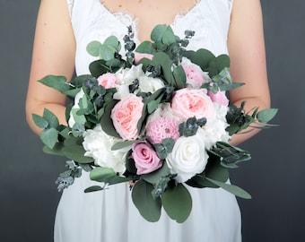 White blush pink bridal wedding bouquet, Preserved real flowers, rose dahlia eucalyptus greenery hydrangea, delicate romantic boho wedding