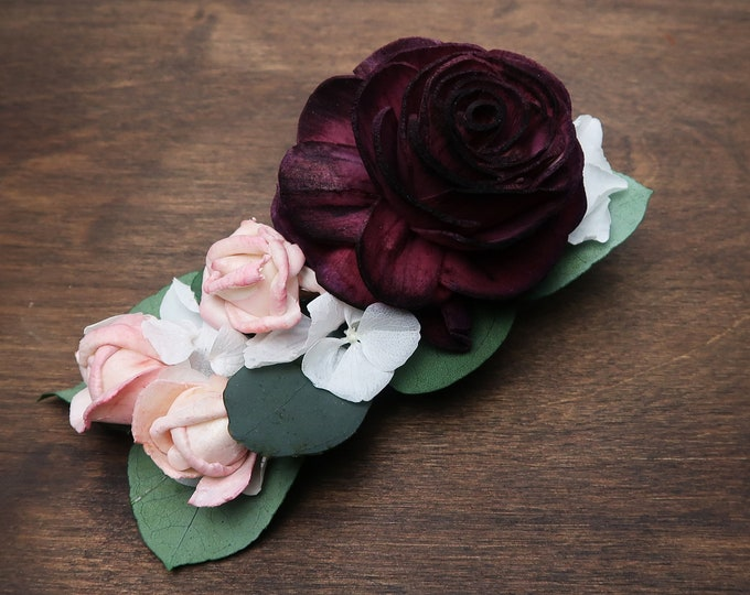 Floral hair clip burgundy wine rose preserved white hydrangea small pink flower eucalyptus Alternative bride boho wedding hairpiece bridal