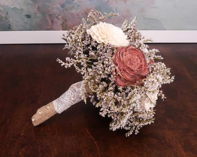Rustic wedding bouquet caramel beige ivory sola flowers dried limonium burlap lace vintage elegant winter autumn bridal alternative flower