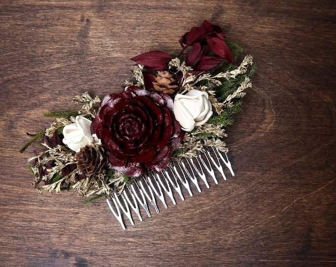 Green, burgundy and gold hair comb with cedar rose and dried flowers