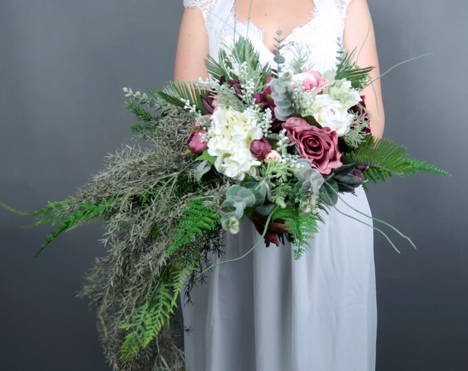 Boho wedding burgundy blush white cascading bridal bouquet greenery ferns artificial silk flowers realistic roses long big bouquet