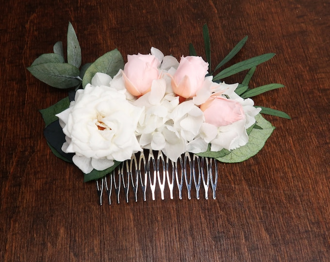 White and blush pink bridal floral hair piece