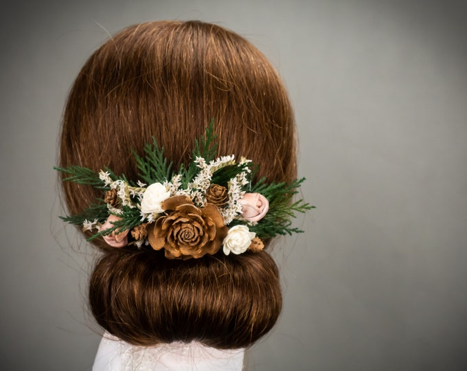 Woodland wedding bridal hairpiece, conifer greenery pine cones sola flowers, real preserved greenery hair comb, floral hair comb