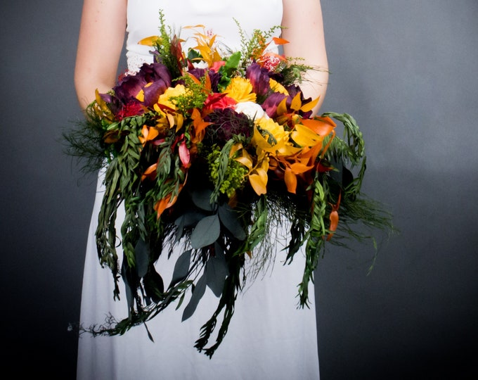 Colorful Mexican wedding bouquet tropical sola flower preserved greenery Boho Burgundy orange yellow red fall autumn pepper tree bridal big