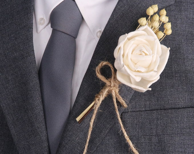 Ivory rose wedding BOUTONNIERE with sola Flower and dried flax baby breath jute cord twine natural southwestern desert harvest wedding groom