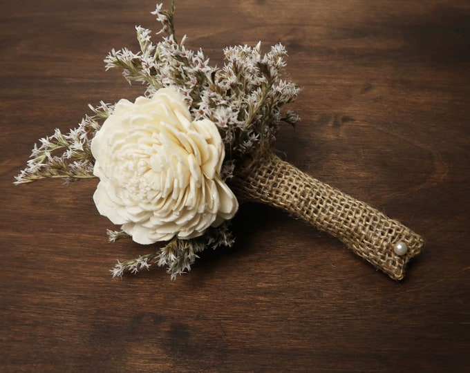 Ivory brown rustic wedding BOUTONNIERE with pine cones, groom groomsman, Sola Flower burlap pearl, dried flower woodland summer small