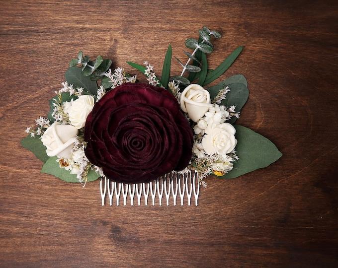 Dark Wine Burgundy rose wedding HAIR COMB Bridal hairpiece ivory Sola Flower baby blue preserved eucalyptus greenery boho style