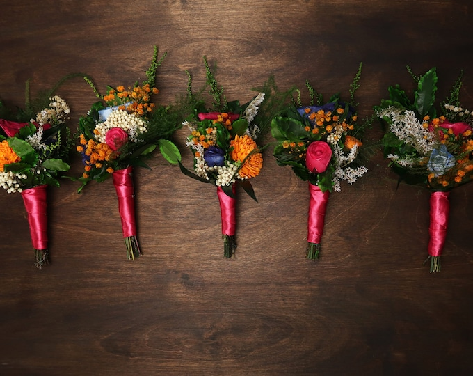 Wedding boutonniere fuchsia pink yellow blue orange sola flower preserved greenery boho Colorful vibrant wild Mexican wedding flowers