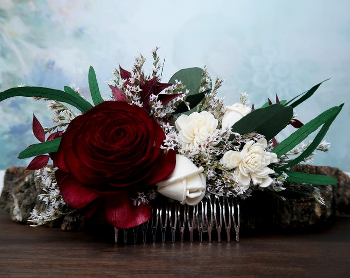 Deep red rose hair comb green eucalyptus Alternative bride Burgundy rustic southwestern wedding Sola dried Flowers bridal hair piece
