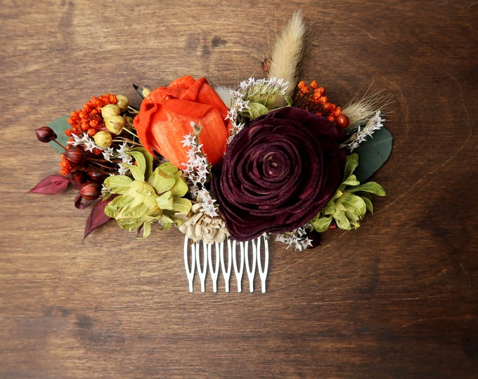 Fall sola flower wedding hair comb in burnt orange, brown and burgundy