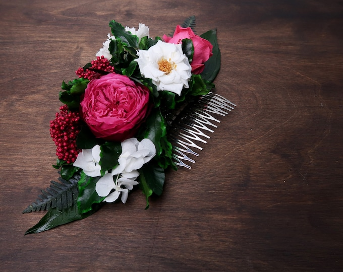 Fuchsia pink white floral hair comb, Preserved real flowers eternal rose tropical greenery ferns boho wedding Bridal hairpiece half crown