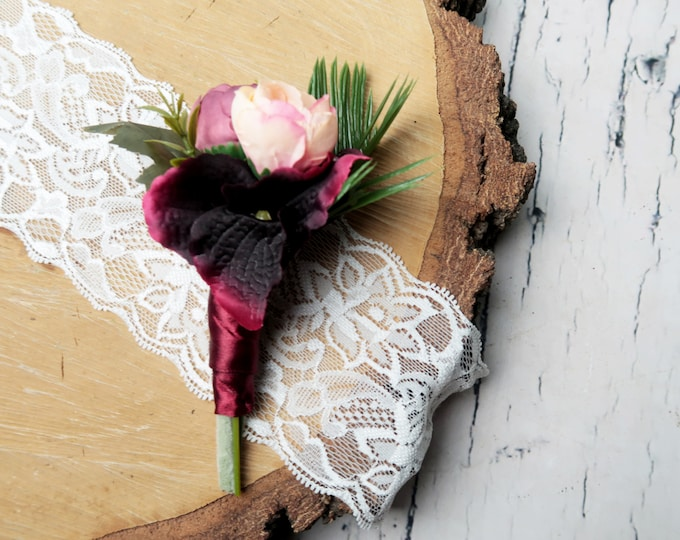 Tropical wedding boutonniere burgundy blush greenery ferns leafs artificial silk flowers realistic