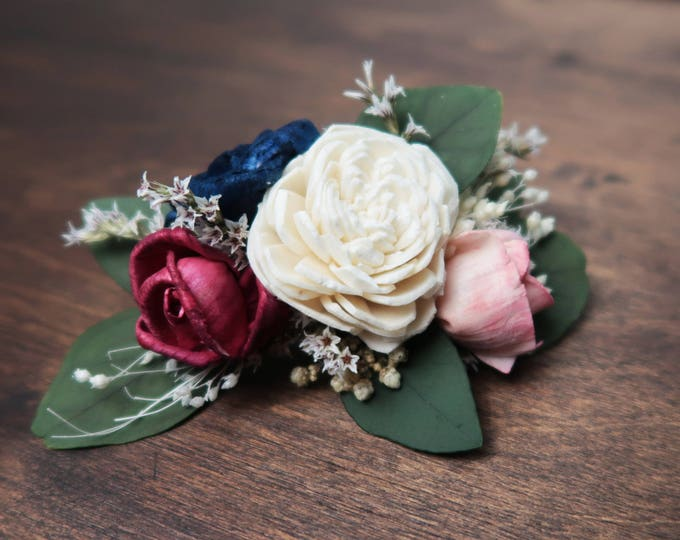Barrette hair clip blush pink navy blue ivory sola flowers preserved eucalyptus dried flowers wedding flower hairpiece perfect for updo
