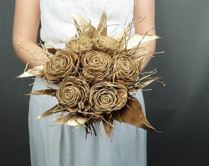 Gold rose wedding bouquet bridal elegant retro style glam wedding sola flowers gold leafs satin ribbon bridal bridesmaids bouquet
