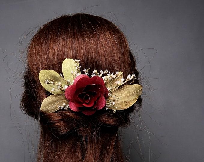 Burgundy sage green woodland wedding HAIR COMB wooden Flower greenery fall autumn dried flowers burlap hair piece bridal accessory maroon