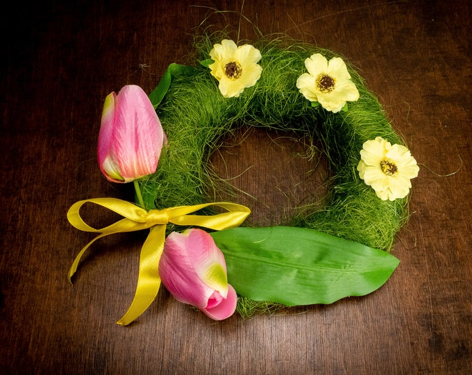 Spring green floral wreath pink tulips greenery wedding table centerpiece, gift home decor
