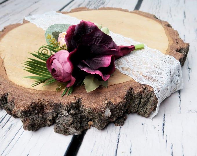 Groom boutonniere Boho wedding burgundy blush greenery ferns tropical leafs artificial silk flowers realistic