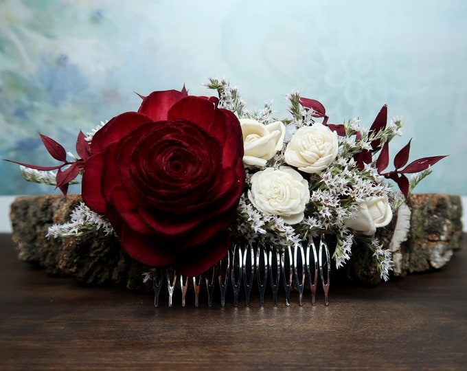 Deep red rose hair comb, Alternative bride, Burgundy rustic woodland Sola and dried Flowers maroon burlap hair piece bridal accessory gothic