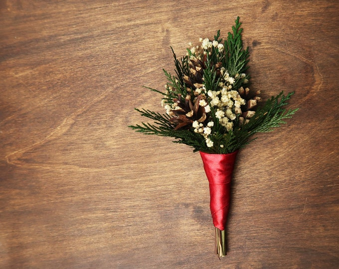 Winter wedding pine cone boutonniere