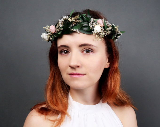 Delicate wedding floral crown with real preserved flowers and greenery
