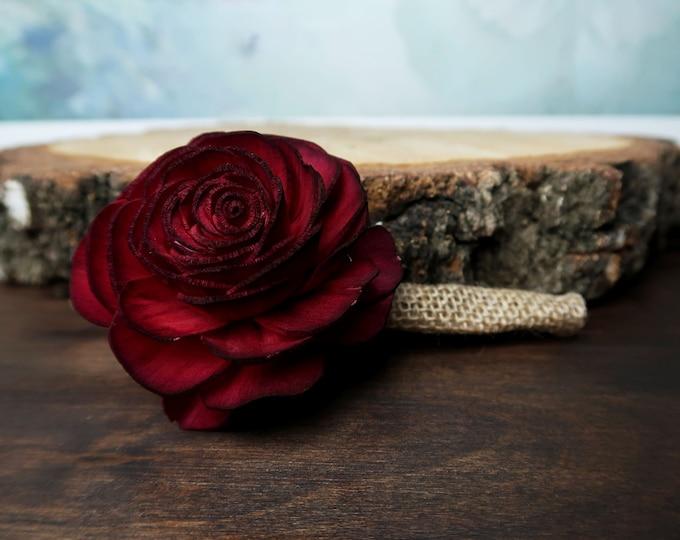 Simple Ivory burgundy single sola rose flower groomsman boutonniere southwestern rustic desert wedding burlap lace autumn fall single rose