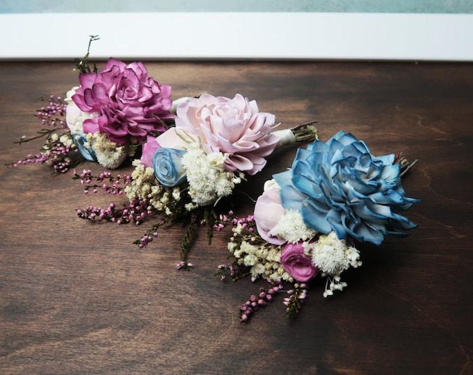 Pastel sola flowers Groomsman boutonniere, ivory blue lavender purple preserved flower, real heather, spring romantic wedding, field flowers