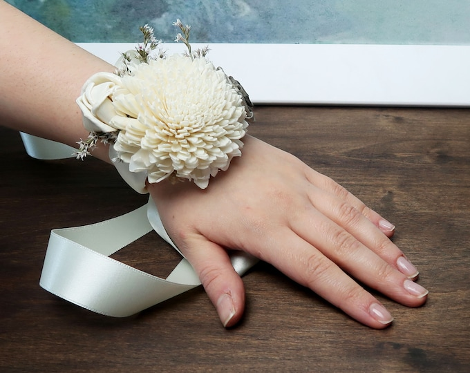 Ivory gray rustic southwestern rustic wedding wrist corsage bridesmaids mothers wooden dried sola flowers