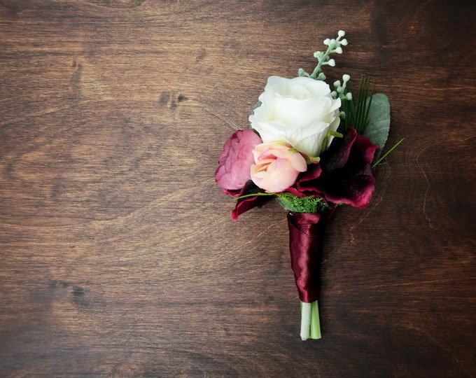 Boho wedding boutonniere burgundy blush dusty pink white greenery ferns artificial silk flowers realistic groom flowers