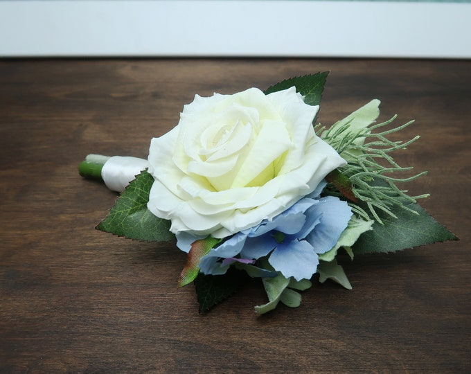 White rose blue hydrangea wedding groom boutonniere realistic silk flowers single rose dusty miller flocked leafs greenery ivory elegant