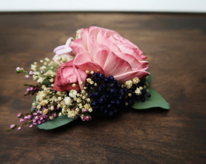 Floral brooch corsage, pink sola rose, preserved eucalyptus, lavender blue rice flowers, gypsophila, mother of bride groom