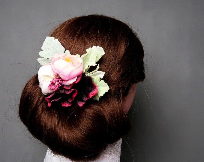 Burgundy blush pink greenery rustic HAIR COMB, silk flowers peony hydrangea dusty miller, hair piece bridal accessory elegant marsala