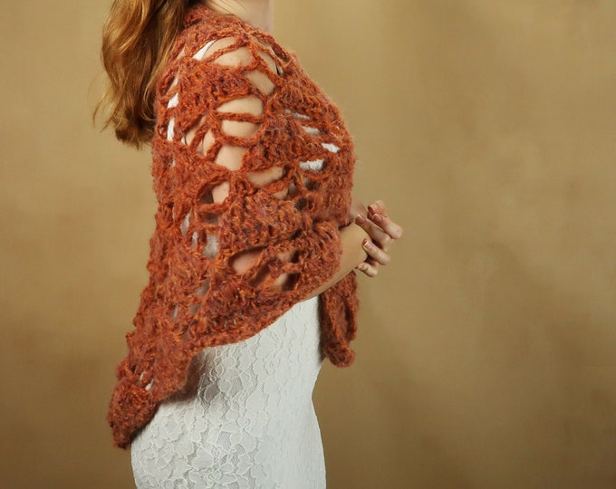 Burnt orange fall bridal wedding shawl, crochet lace wrap, mohair winter wedding bride mother warm vintage style rustic wedding