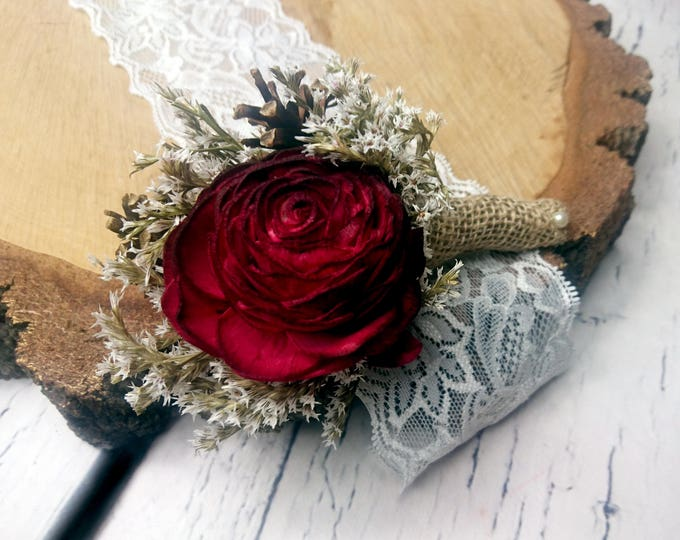 Burgundy pine cones boutonniere sola flower dried flowers burlap rustic woodland wedding groom groomsman maroon blush marsala