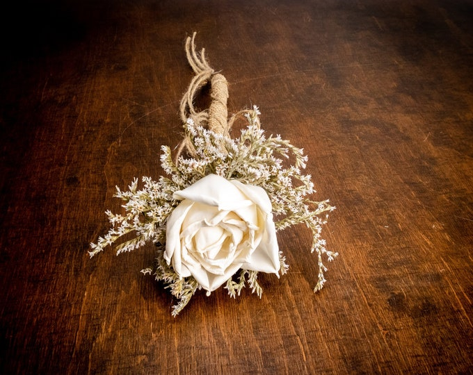 Ivory sola rose flower girl wand, rustic wedding, burlap, dried flowers, small bridesmaids bouquet