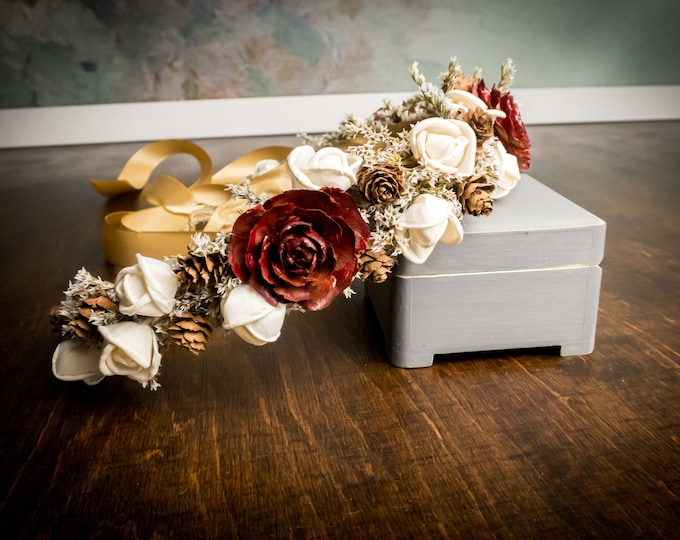 Dried flower crown in burgundy gold and ivory, cedar rose small cones and sola flowers, rustic fall wedding bridal hairpiece