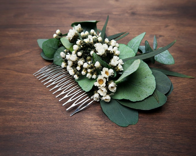 Eucalyptus greenery wedding hair comb tiny white flowers Preserved real ixodia flowers boho wedding Bridal hairpiece delicate botanical