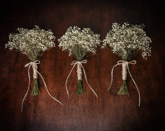 Small natural bridesmaid wedding bouquet, preserved real gypsophila baby's breath, simple rustic wedding