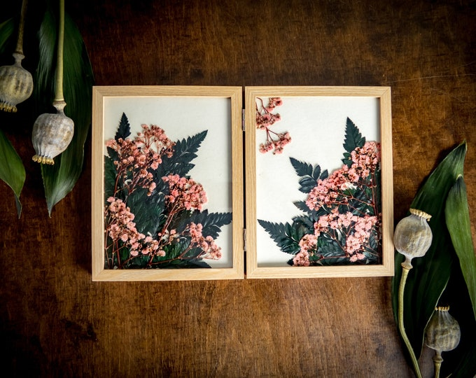 Preserved pressed flowers picture, pink gypsophila and ferns botanical artwork, mother's day gift idea, glass frame art garden herbarium