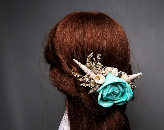 Turquoise sola flower hair piece comb with sea shells and dried flowers, perfect for beach wedding