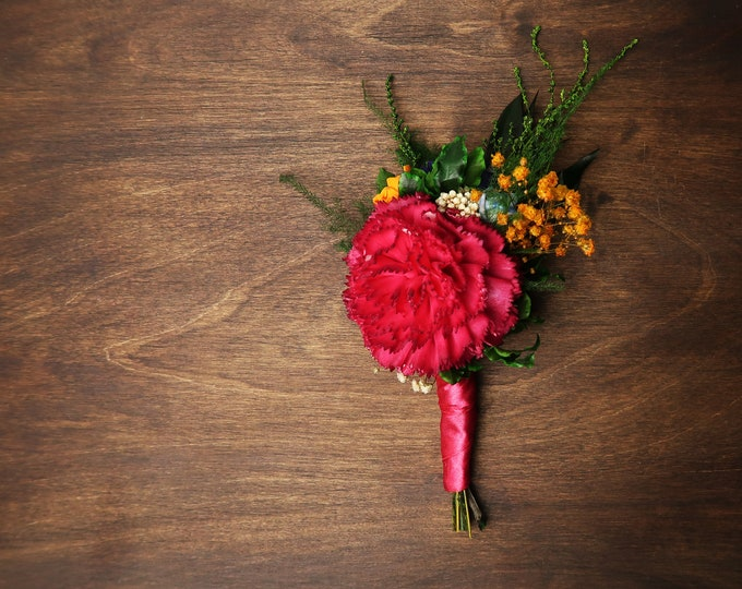 Groom boutonniere fuchsia pink carnation sola flower preserved greenery boho Colorful vibrant wild wedding yellow orange blue