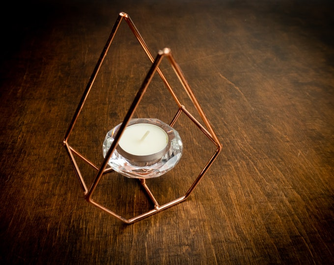 Modern geometric diamond candleholder, copper and crystal wedding table centerpiece, diy party decor